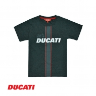 DUCATI KID BOY VERTICAL LINES GRAPHIC SHORT SLEEVE TEE (REGULAR FIT) - CHARCOAL