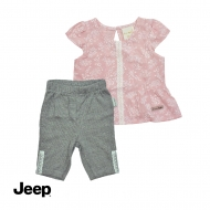 JEEP BABY GIRL 2-IN-1 SHORT SLEEVE BLOUSE AND LEGGING SET -LIGHT PURPLE & GREY