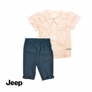 JEEP BABY GIRL 2-IN-1 SHORT SLEEVE BLOUSE AND LEGGING SET -PINK & BLACK