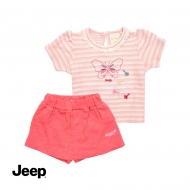 JEEP BABY GIRL 2-IN-1 SHORT SLEEVE TOP & SHORT SET -LIGHT PEACH & PEACH
