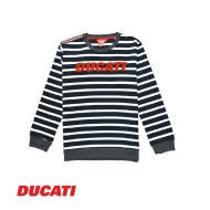 DUCATI KID BOY LOGO OVERSIZED STRIPED LONG SLEEVE PULLOVER- NAVY
