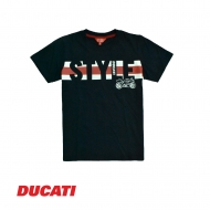 DUCATI KID BOY STYLE TEXT WITH STRIPE BAND SHORT SLEEVE TEE - NAVY