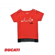 DUCATI KID GIRL STYLISH TYPOGRAPHY SHORT SLEEVE TEE - RED