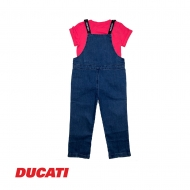 DUCATI KID GIRL DENIM LONG PANT PINAFORE WITH SHORT SLEEVE TEE - BLUE