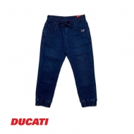 DUCATI KID BOY FULL ELASTIC WAIST LONG PANT RELAXED DENIM JOGGER - BLUE