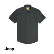 JEEP MEN WOVEN SHORT SLEEVE PLAIN SHIRT - GREY