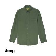 JEEP MEN WOVEN LONG SLEEVE PLAIN SHIRT - GREEN