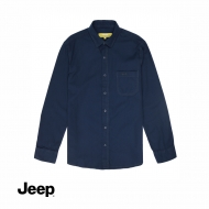 JEEP MEN WOVEN LONG SLEEVE PLAIN SHIRT - NAVY