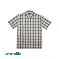 CROCODILE MICROFIBRE CHECKED REGULAR FIT SHIRT- OLIVE GREEN
