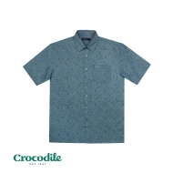 CROCODILE COTTON MIX PRINTED REGULAR FIT SHIRT - DARK TURQUOISE