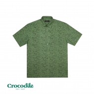 CROCODILE COTTON MIX PRINTED REGULAR FIT SHIRT - LIGHT GREEN