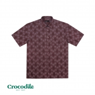 CROCODILE COTTON MIX PRINTED REGULAR FIT SHIRT - PURPLE