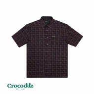 CROCODILE COTTON MIX PRINTED REGULAR FIT SHIRT - DARK MAROON