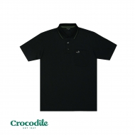 CROCODILE MICROFIBRE COTTON SOLID REGULAR FIT POLO TEE - BLACK