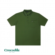 CROCODILE MICROFIBRE COTTON SOLID REGULAR FIT POLO TEE - ARMY GREEN