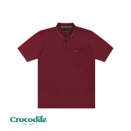 CROCODILE MICROFIBRE COTTON SOLID REGULAR FIT POLO TEE - ROSEWOOD