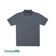CROCODILE MICROFIBRE COTTON SOLID REGULAR FIT POLO TEE - LIGHT GREY BLUE