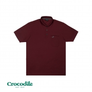 CROCODILE MICROFIBRE COTTON SOLID REGULAR FIT POLO TEE - MAROON