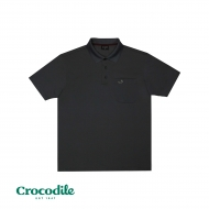 CROCODILE MICROFIBRE COTTON SOLID REGULAR FIT POLO TEE - GREY