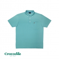 CROCODILE MICROFIBRE COTTON SOLID REGULAR FIT POLO TEE - LIGHT TURQUOISE