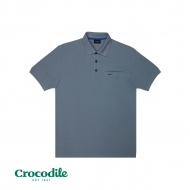 CROCODILE CVC PIQUE SOLID REGULAR FIT POLO TEE - LIGHT GREY
