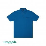 CROCODILE CVC PIQUE SOLID REGULAR FIT POLO TEE - BLUE
