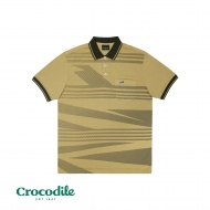 CROCODILE MICROFIBRE COTTON PRINTED REGULAR FIT POLO TEE - DARK KHAKI