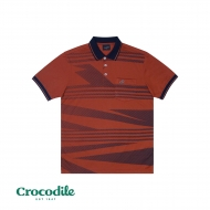CROCODILE MICROFIBRE COTTON PRINTED REGULAR FIT POLO TEE - MAROON