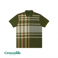 CROCODILE MICROFIBRE COTTON PRINTED REGULAR FIT POLO TEE - ARMY GREEN