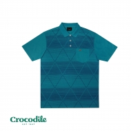 CROCODILE MICROFIBRE COTTON PRINTED REGULAR FIT POLO TEE - TURQUOISE GREEN