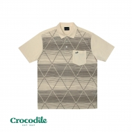 CROCODILE MICROFIBRE COTTON PRINTED REGULAR FIT POLO TEE - LIGHT KHAKI