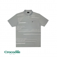 CROCODILE MICROFIBRE COTTON PRINTED REGULAR FIT POLO TEE - LIGHT GREY