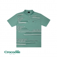 CROCODILE MICROFIBRE COTTON PRINTED REGULAR FIT POLO TEE - LIGHT GREEN