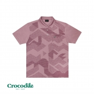 CROCODILE MICROFIBRE COTTON PRINTED REGULAR FIT POLO TEE - LIGHT PURPLE