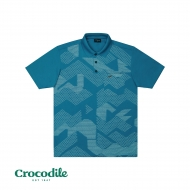 CROCODILE MICROFIBRE COTTON PRINTED REGULAR FIT POLO TEE - BLUE