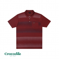 CROCODILE MICROFIBRE COTTON PRINTED REGULAR FIT POLO TEE - DARK MAROON