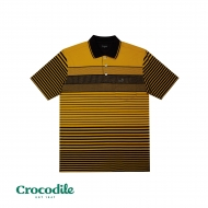 CROCODILE COTTON SPANDEX Y/DYED STRIPE DOBBY REGULAR FIT POLO TEE - DARK BROWN