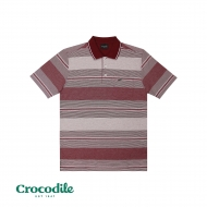 CROCODILE COTTON SPANDEX Y/DYED STRIPE DOBBY REGULAR FIT POLO TEE - MAROON