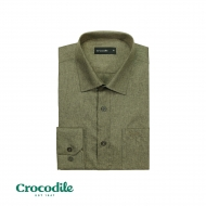 CROCODILE POLY RAYON LONG SLEEVE REGULAR FIT SHIRT - KHAKI