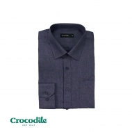 CROCODILE POLY RAYON LONG SLEEVE REGULAR FIT SHIRT - PURPLE GREY