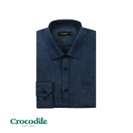 CROCODILE POLY RAYON LONG SLEEVE REGULAR FIT SHIRT - DARK BLUE